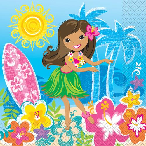 Servietten - Hawaii-Beach-Party - Hula-Girl