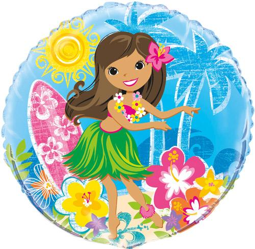 Folien-Luftballon Hawaii-Beach-Party Hula-Girl