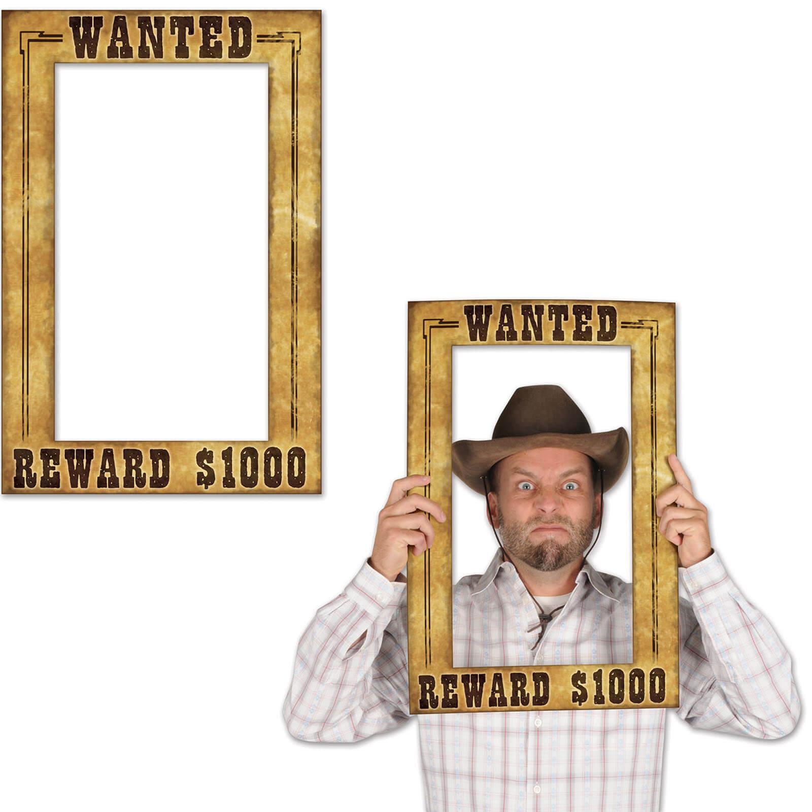 Wanted-Bilderrahmen Fotoshooting-Szene Western Deko - Partydeko ...